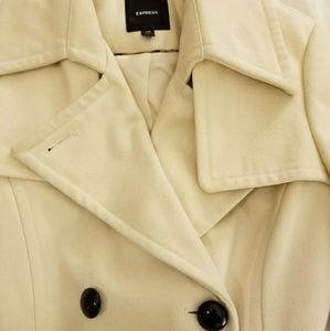 Express Cream Wool Coat, Size XS